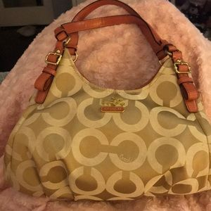 Coach Handbag, champagne and coral color